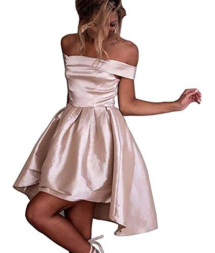 8918173dd53 Dressylady Champagne Off-Shoulder High Low Prom Party Homecoming Dress(6)