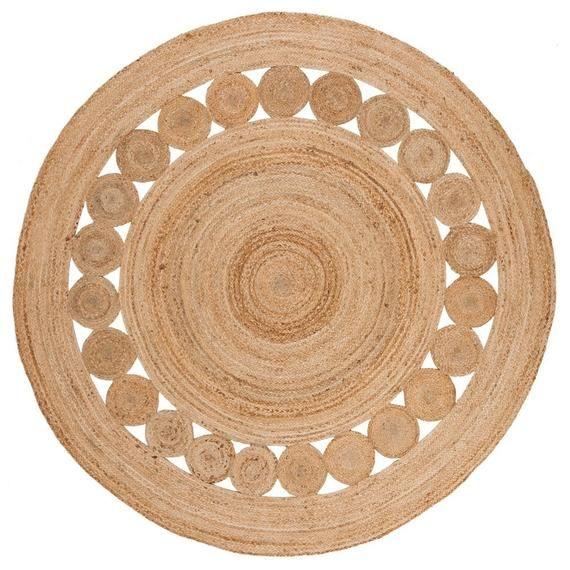 Indian Rug, 2x2 feet jute  handmade rug round rug