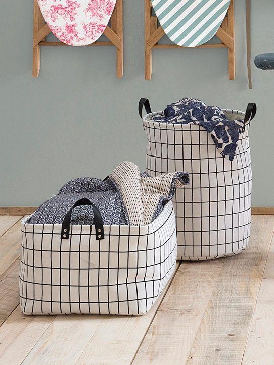 Wäschekorb in Zylinderform aus Tuch SCHWARZ/WEIß KARIERT