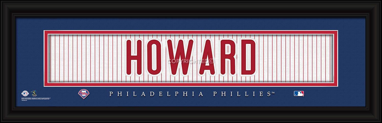 "Ryan Howard Philadelphia Phillies Player Stitched Jersey 8"" x 24"" Framed Print"
