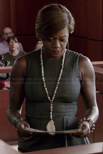 Annalise's grey asymmetric peplum top on How to Get Away with Murder.  Outfit Details: http://wornontv.net/38034/ #HTGAWM