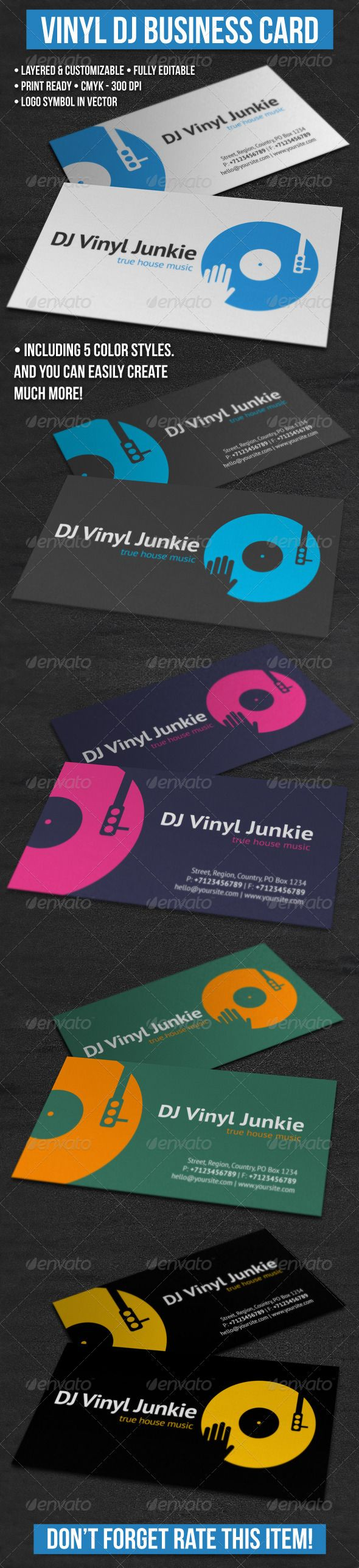 Vinyl DJ Business Card   Dj business cards, Business cards and ...