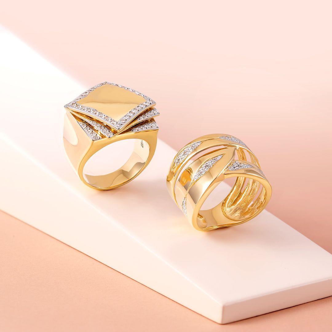 Joiasvip Anel Diamante Ouro18k Brilhantes Aneis Presente