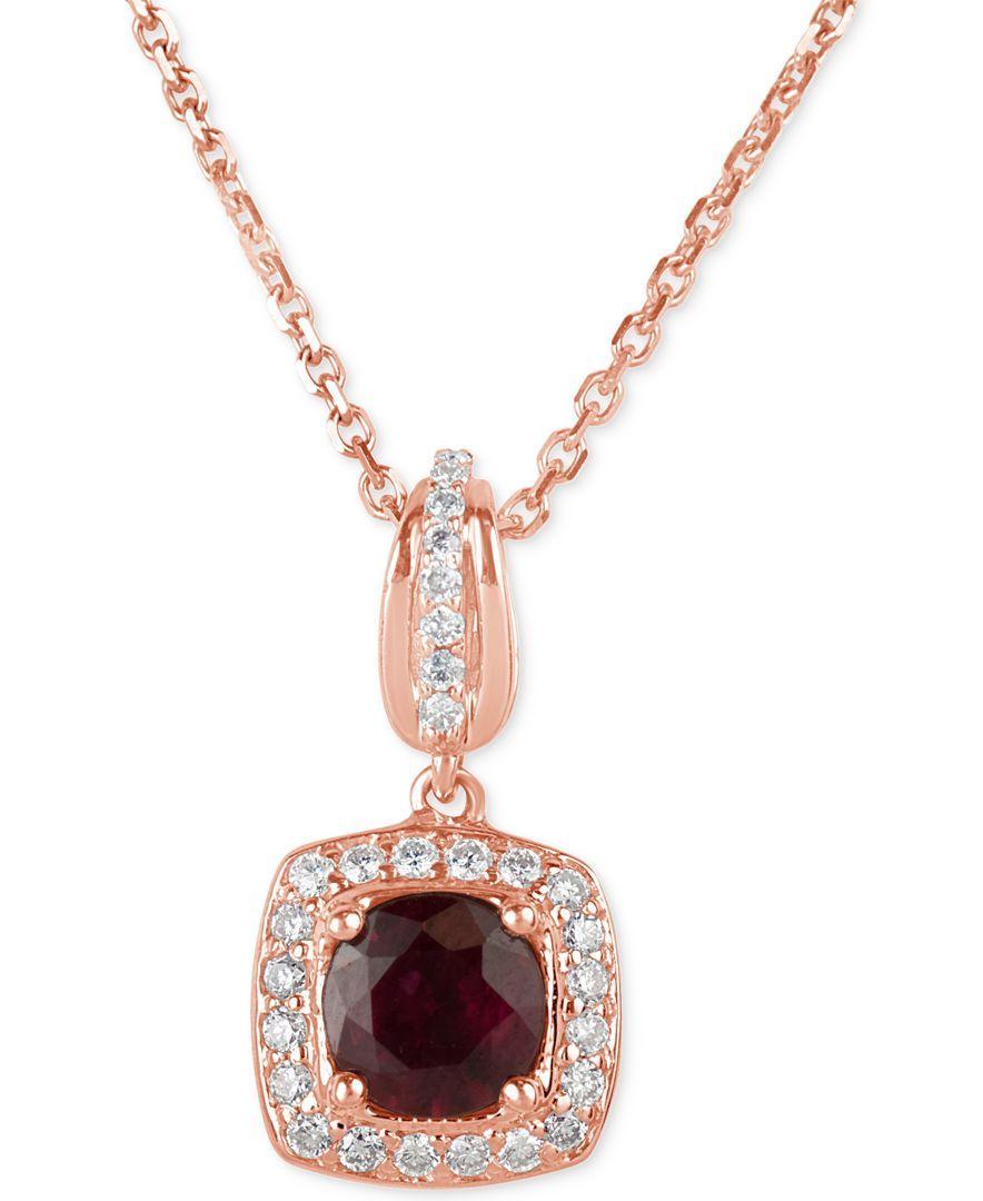 Ruby ct tw and diamond ct tw square drop pendant