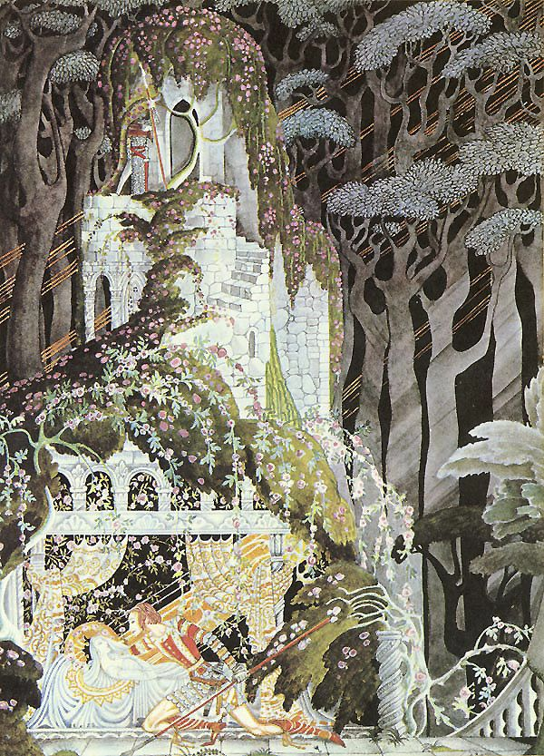 Kay Nielsen                                                                                            All was so still that he could hear every breath he drew,   till at last he came to the old tower and opened the door of the little   room in which Rosebud was, and there she lay fast asleep...   (from Rosebud, or Sleeping Beauty, by the Brothers Grimm)