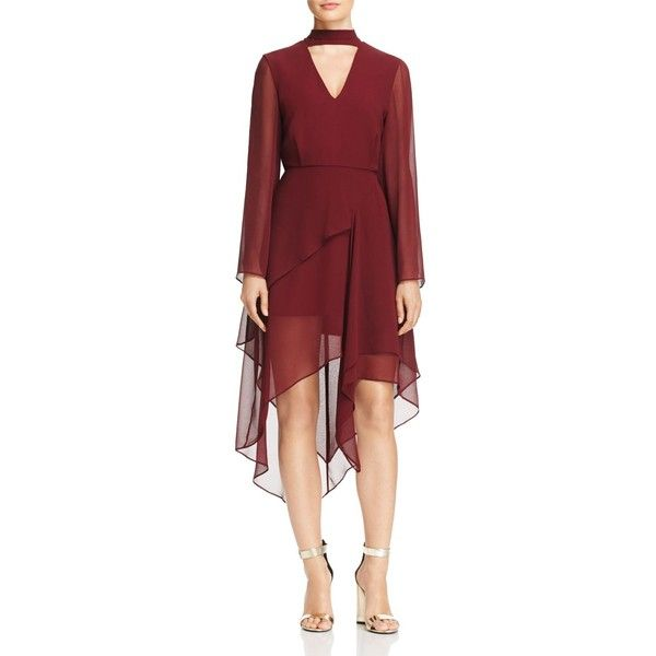 C/Meo Collective Autonomy Chiffon Dress (10,235 DOP) ❤ liked on Polyvore featuring dresses, mahogany, sheer sleeve dress, red cut out dress, cut out dresses, red layered dress and tie dress