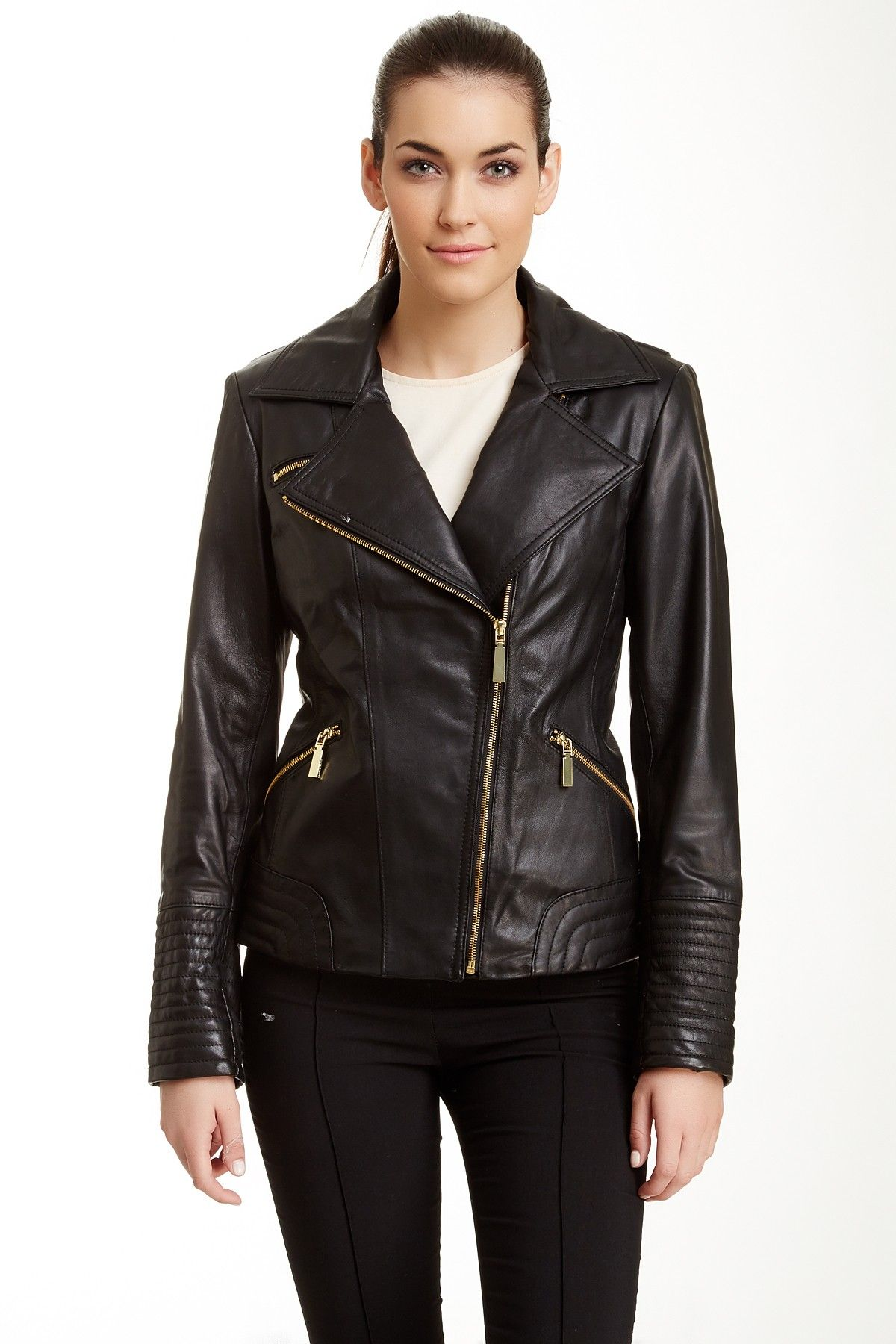 Vince Camuto Leather Moto Jacket By Vince Camuto On Nordstrom Rack Streetstyle [ 1800 x 1200 Pixel ]