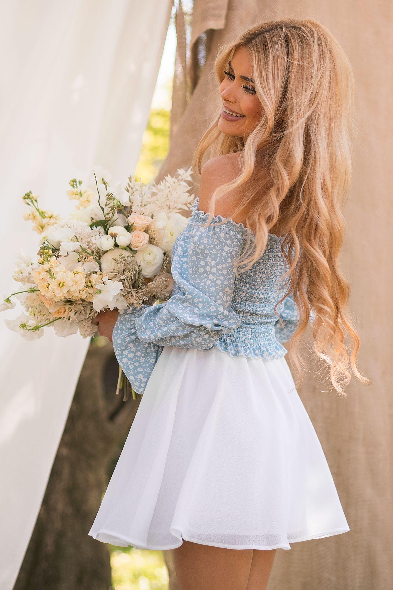 top mit puffärmeln blau in 2020   blumenmädchen kleid