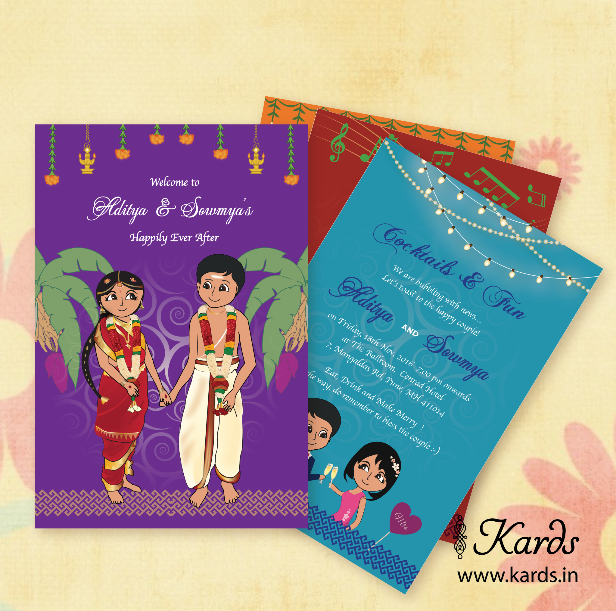 Yet Another Caricature Invitation Depicting A Tamil Brahmin Wedding Creative Wedding Invitations Indian Wedding Invitations Wedding Card Wordings