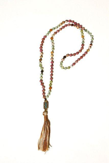 Kathmandu Tassel Necklace: 6mm semi precious agate stones, Nepal turquoise bead