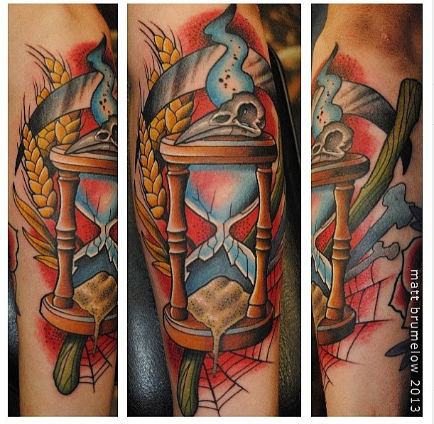 Neotraditional Hourglass With Wheat And Scythe At Matt Brumelow At Lucky Draw Tattoo Dallas