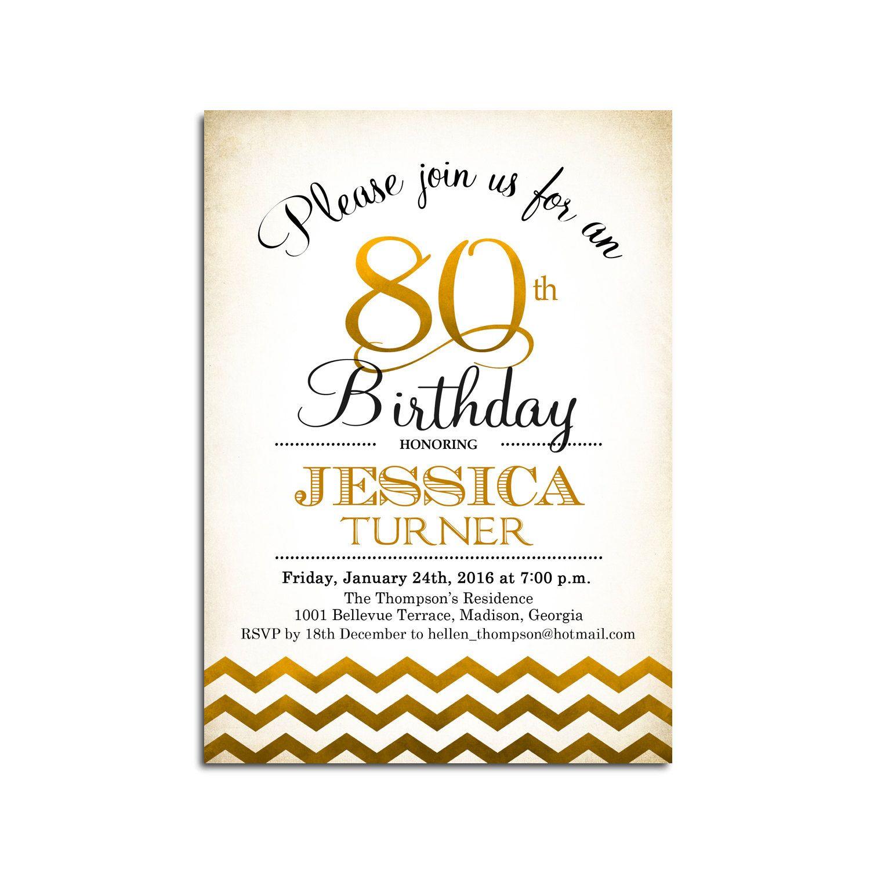 80th Birthday Invitation / 90th / Any Age / Gold White