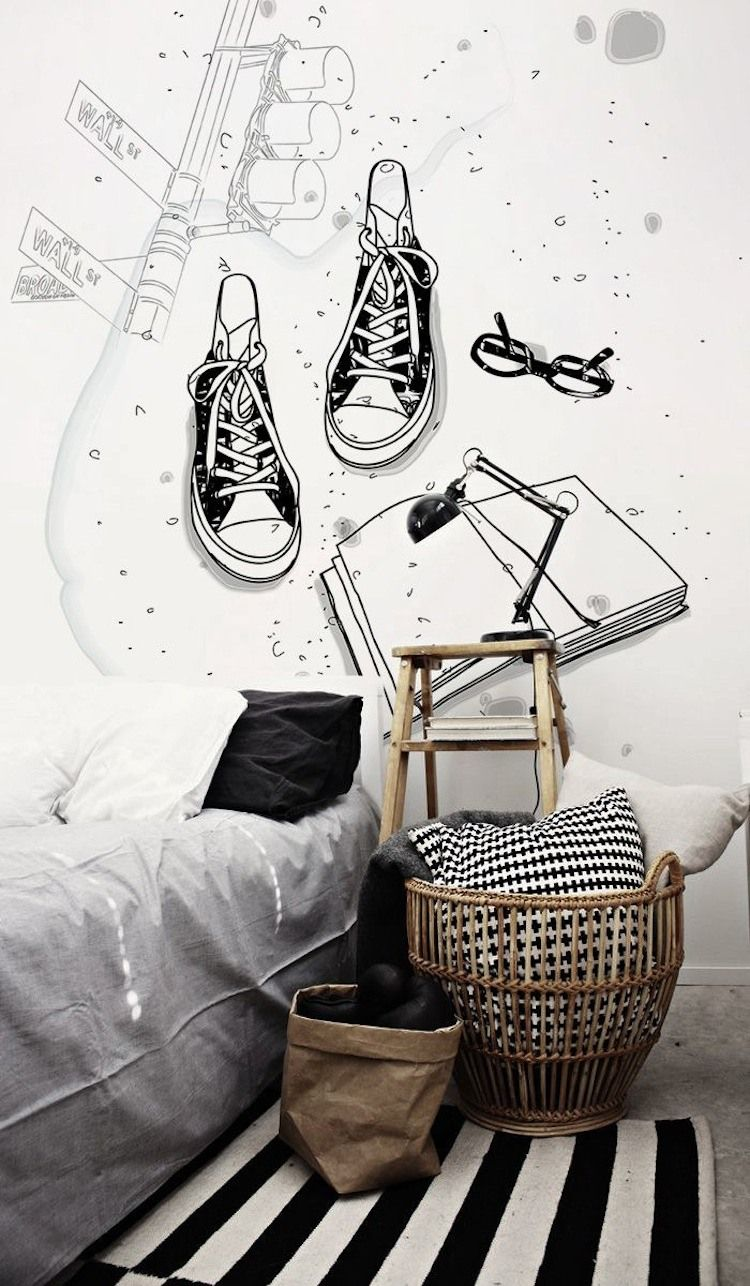 Wood, black and white Wallpainting. Cool teenager room. Tolle ...