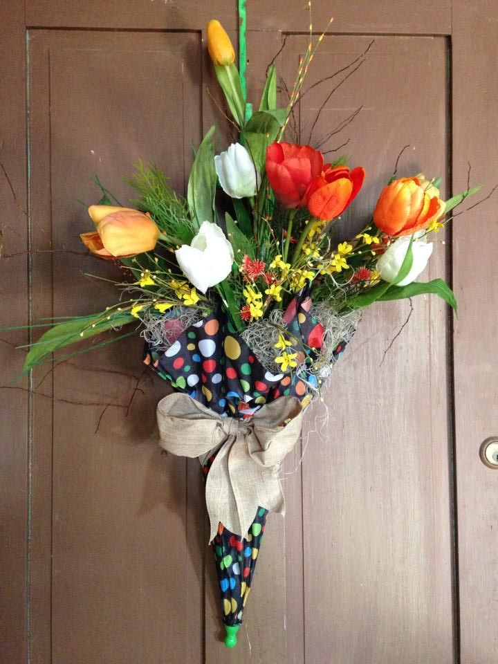 Exceptional Umbrella, Upcycled Umbrella, Spring Door Decor, Front Door Wreath, Unique  Front Door