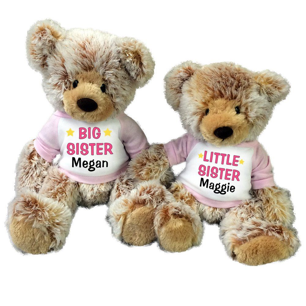 Big Sister / Little Sister Personalized Teddy Bears - Set of 2 Caramel Bears