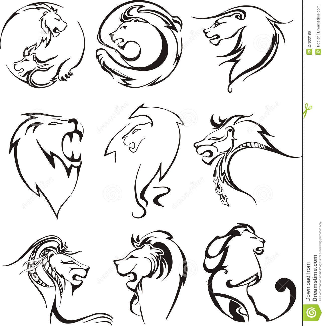 Stylized Lion Heads Set Of Black And White Vector