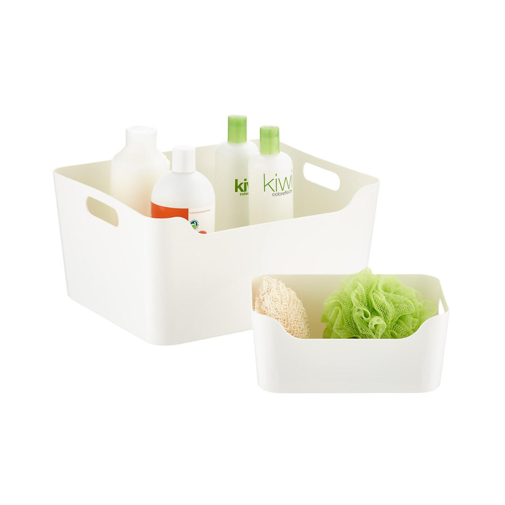 White Plastic Storage Bins with Handles | The Container Store