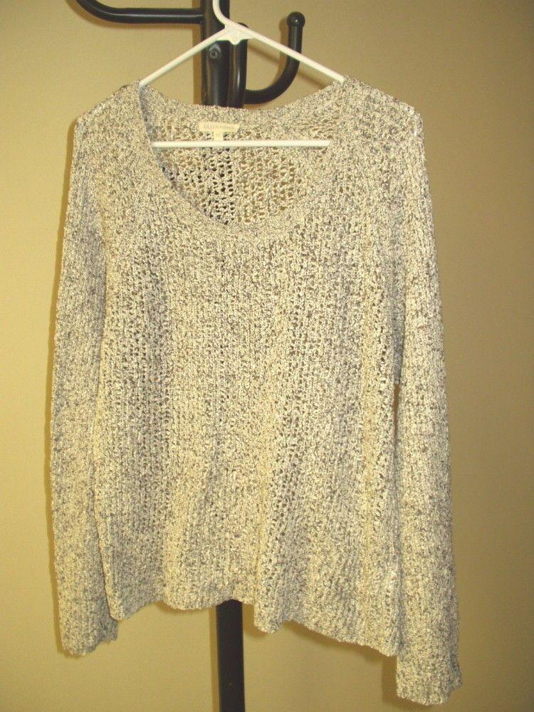 270c135817ea6b Eileen Fisher Women s 100% Cotton Open Knit White Black Pullover ...