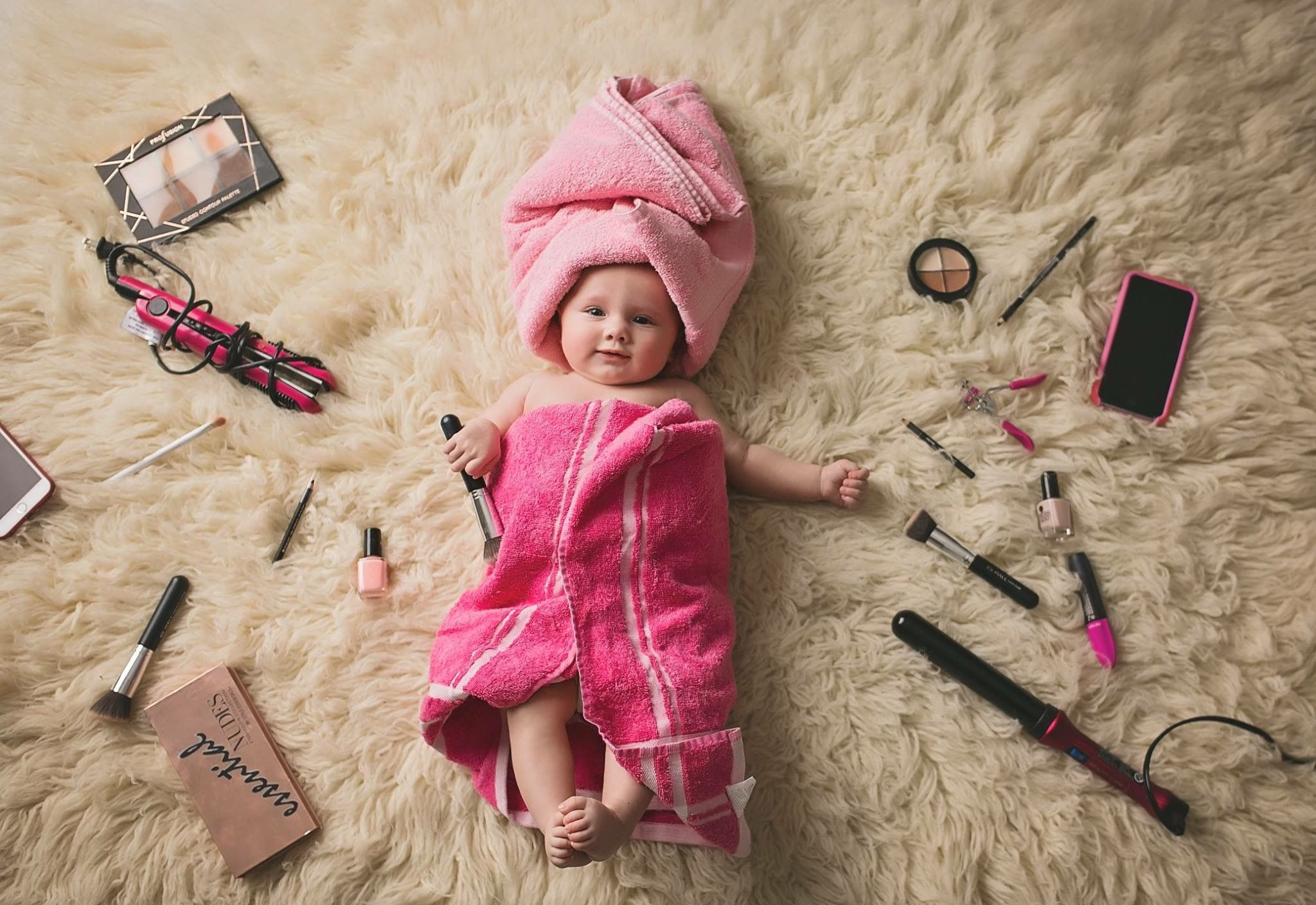Baby Fotoshooting Ideen 4 Month Baby Girl Pink Make Up Towels Photography Ideas