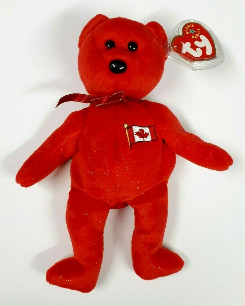 Pierre the Bear, Red TY Beanie Baby, Canada 8.5 inch