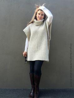 Easy Crochet Poncho Pattern Modern Style No.932 by bubnutPatterns