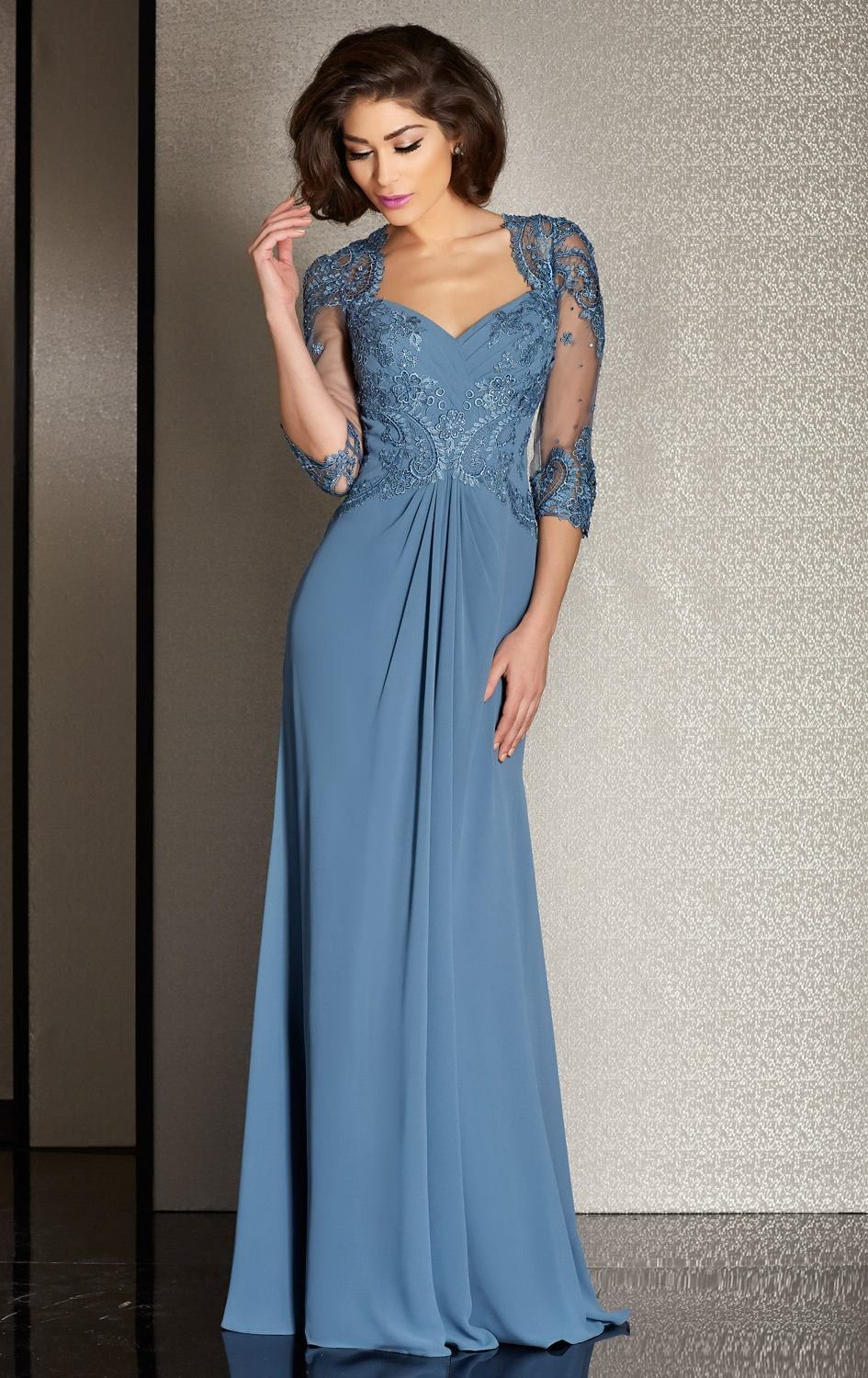 Elegant 3/4 Sleeves Chiffon Mother Of The Bride Dress | Pinterest ...