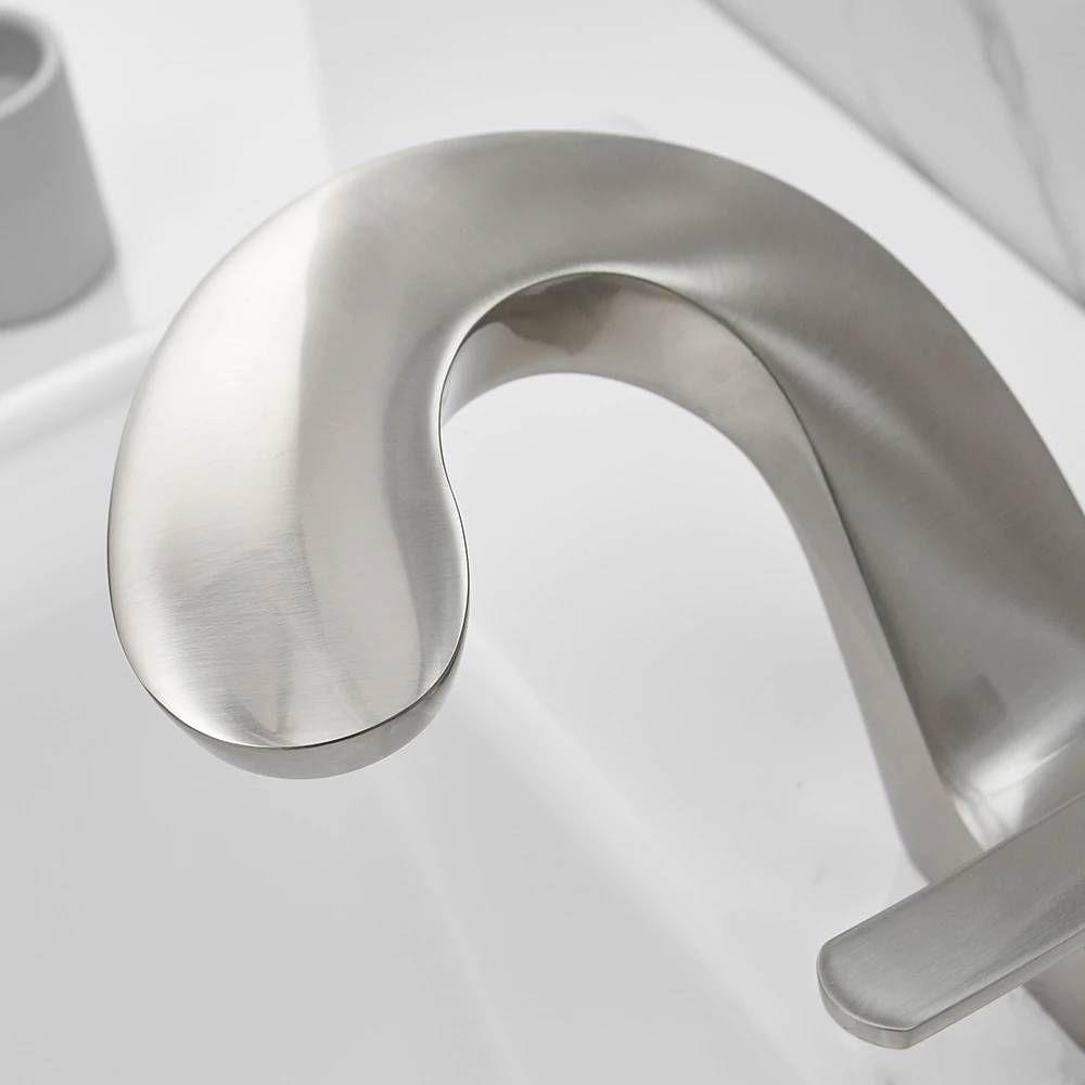 Photo of Basin Faucet Bathroom Sink Faucet Brushed Nickel Taps Basin Faucet Mixer Single Handle Hole Deck Wash Hot Cold Mixer Tap Crane