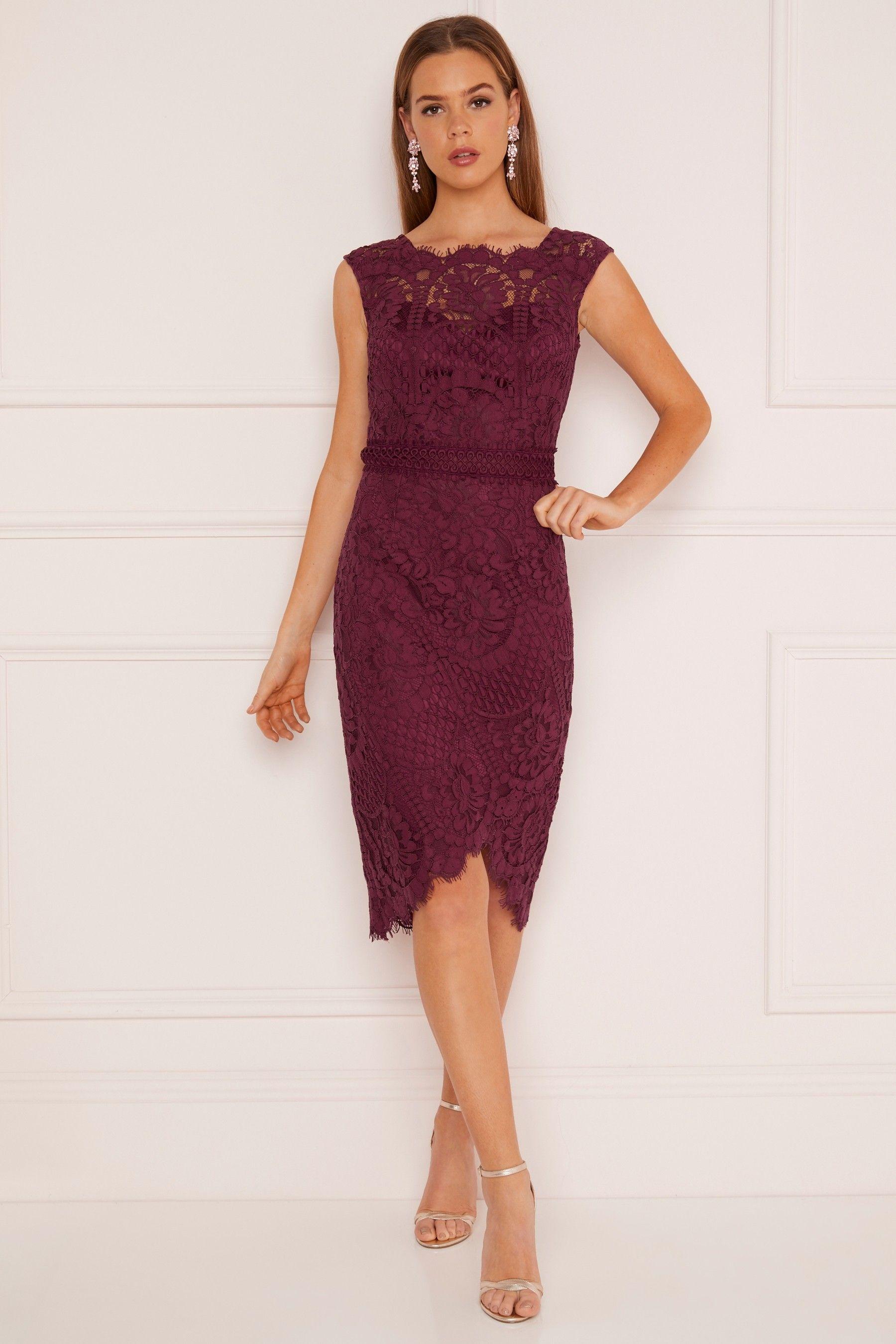 78d2a76d343 Womens Lipsy VIP Asymmetric Lace Bodycon Dress - Red