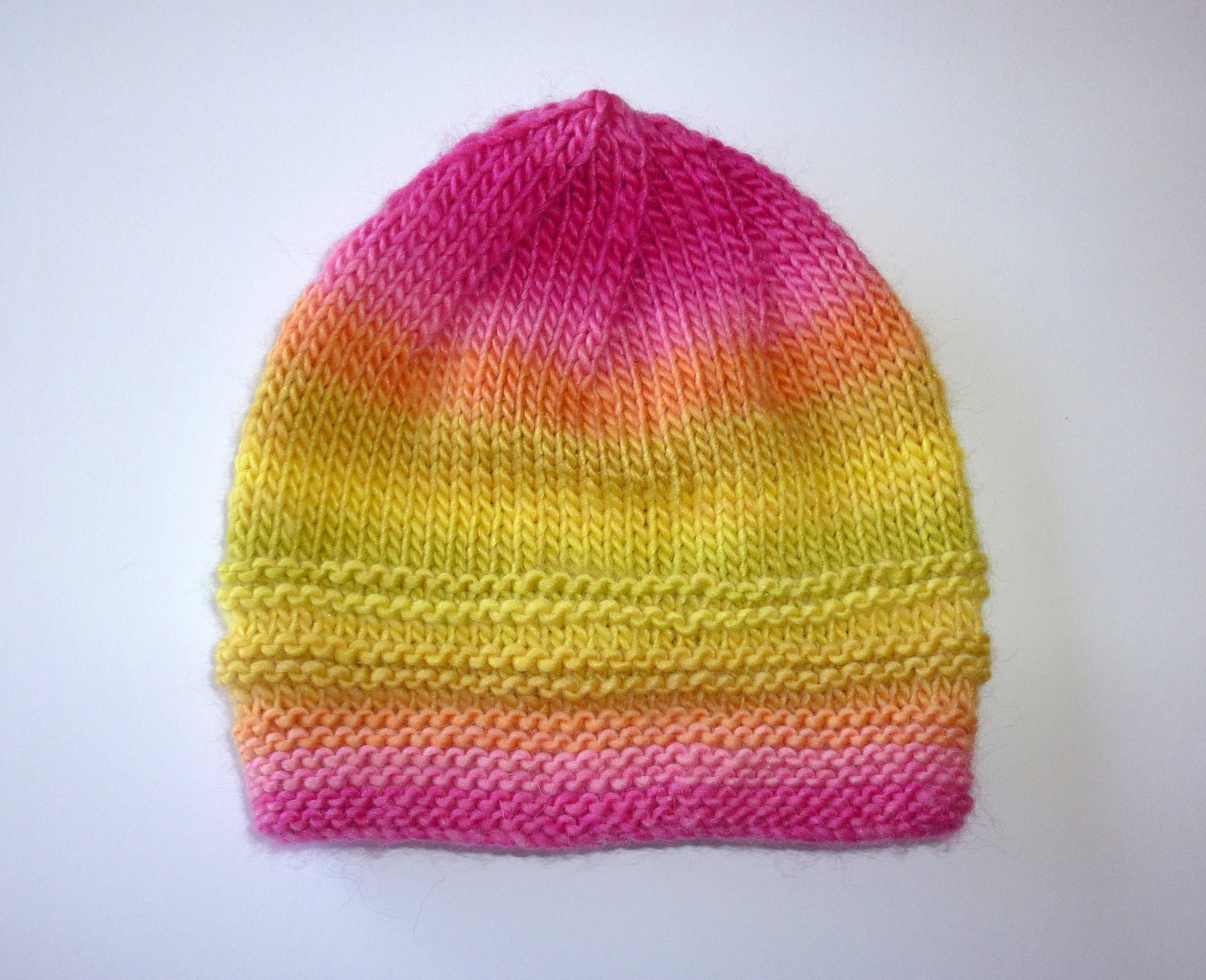 d345405563d Baby Pink and yellow knit hat. Girls knit Beanie. Knit toddler Hat. Neon  Knit hat. Pink and yellow beanie. Soft knitted hat.