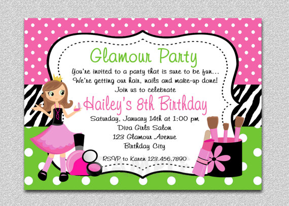 glamour girl birthday spa invitation glamour girl birthday party