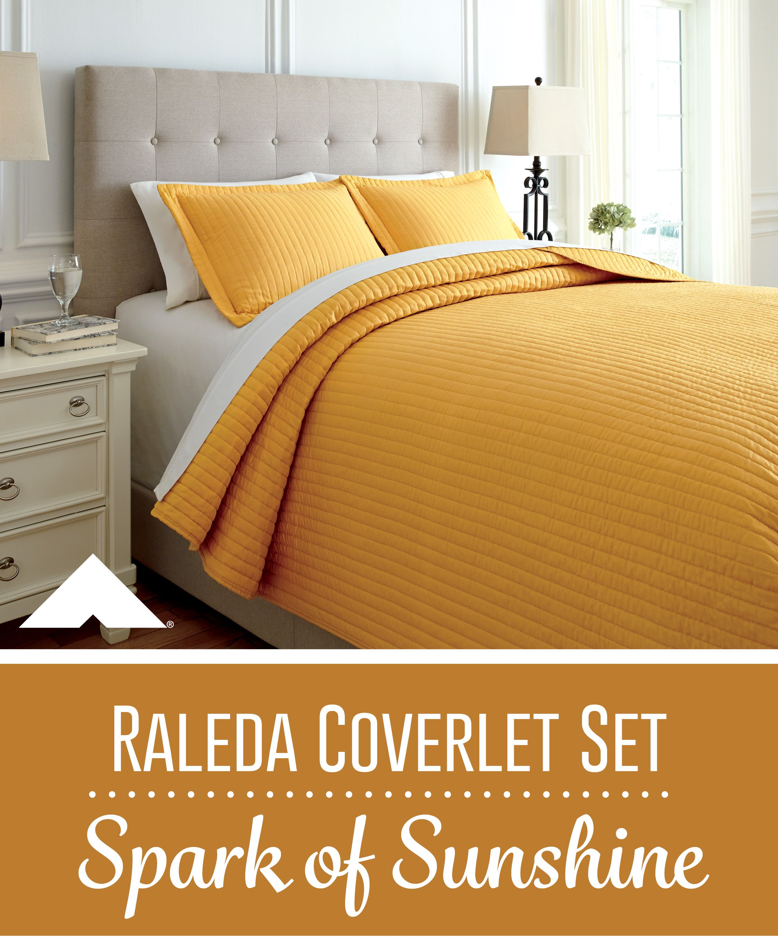 Raleda Sunshine Yellow Coverlet Set By Ashley Furniture