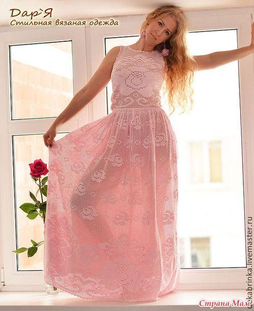 Филейное вязание платья розы