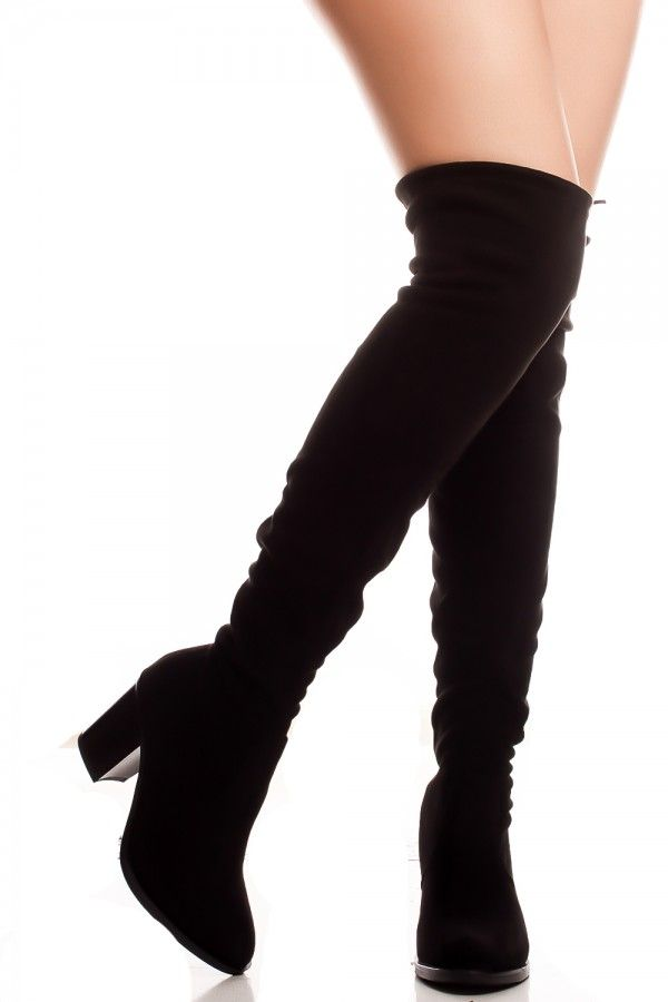 2b39d16dde0 This faux suede over knee boot features a 3 inch chunky high heel and back  lace. Perfect for any occasion.