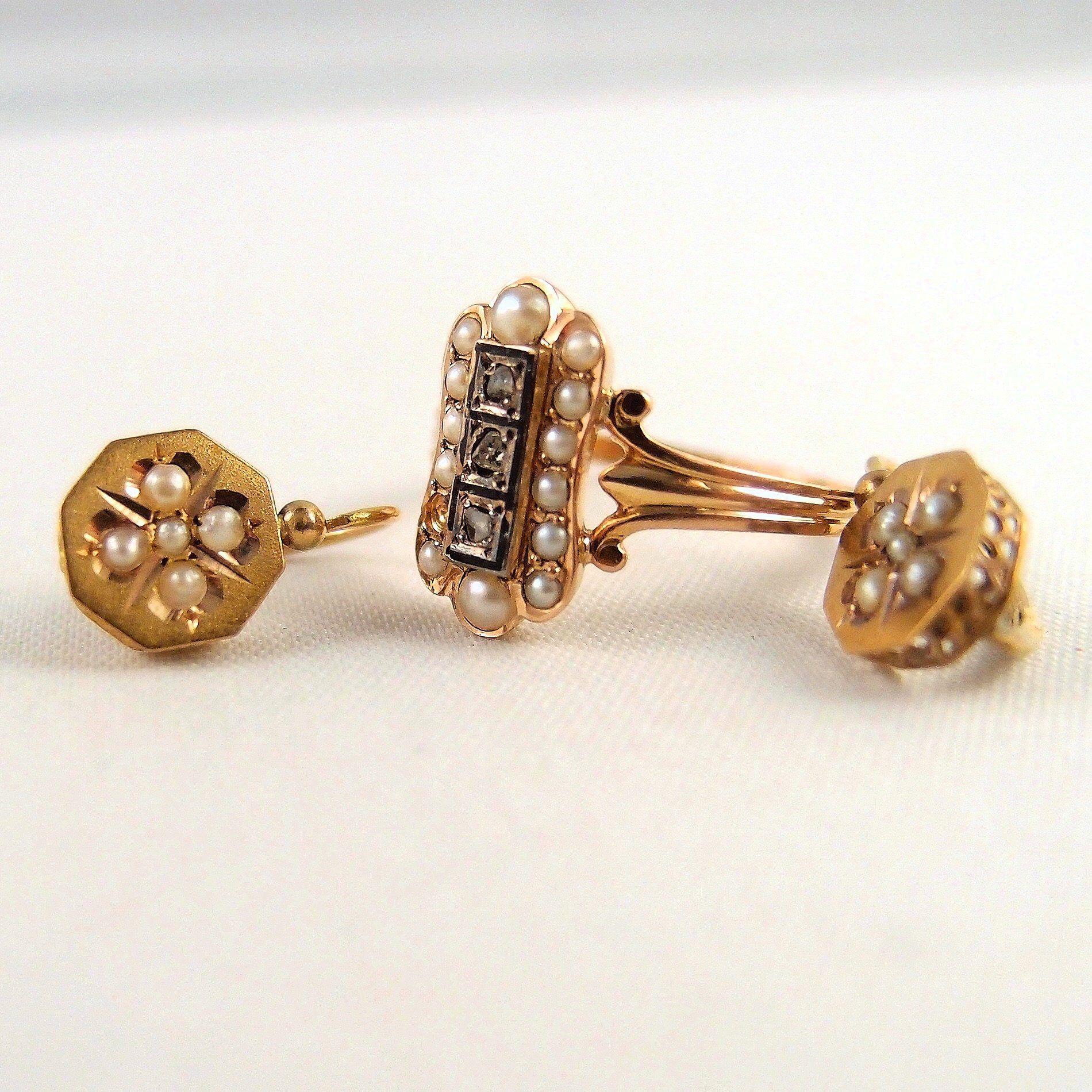 1c09207b61e9d Elegant Victorian era 18K solid gold fine jewelry set Stamped gold ...