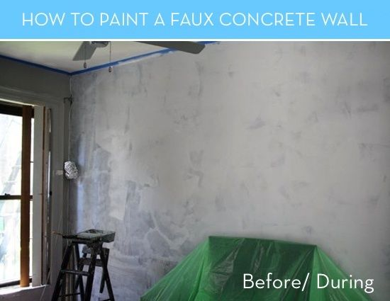 How To Paint A Faux Concrete Wall That Looks Like The Real Thing Faux Concrete Wall Faux Walls Concrete Wall