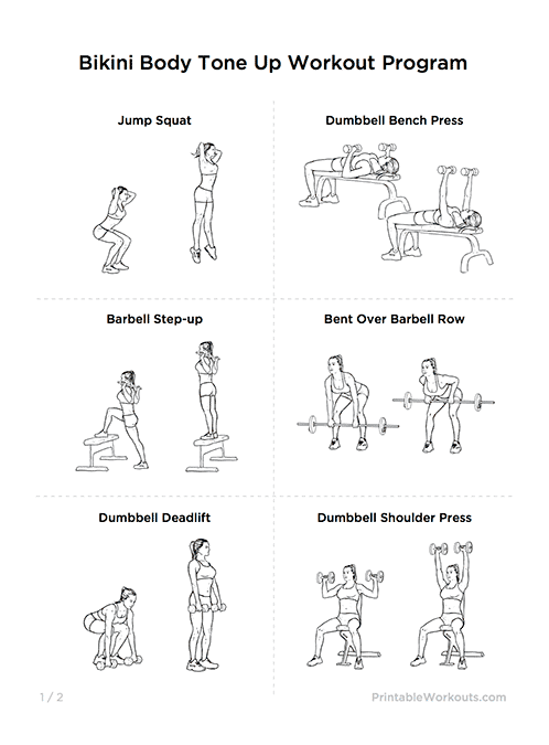 Body Tone Up Printable Workout Plan For Women Workouts