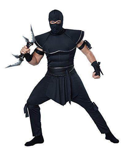 Deluxe Ninja Warrior Black Samurai Suit Mask Adult Mens Halloween Costume