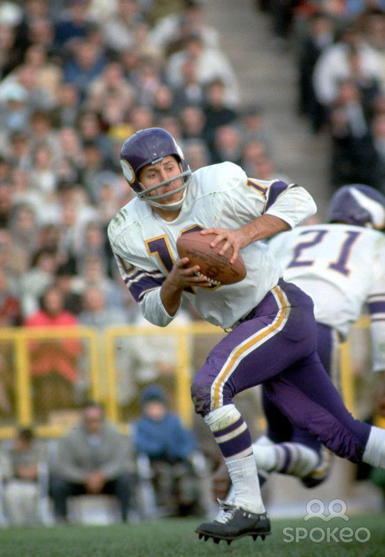 Minnesota Vikings quarterback Fran Tarkenton (10) in action during the 1964 season against the Green Bay Packers at Lambeau Field.
