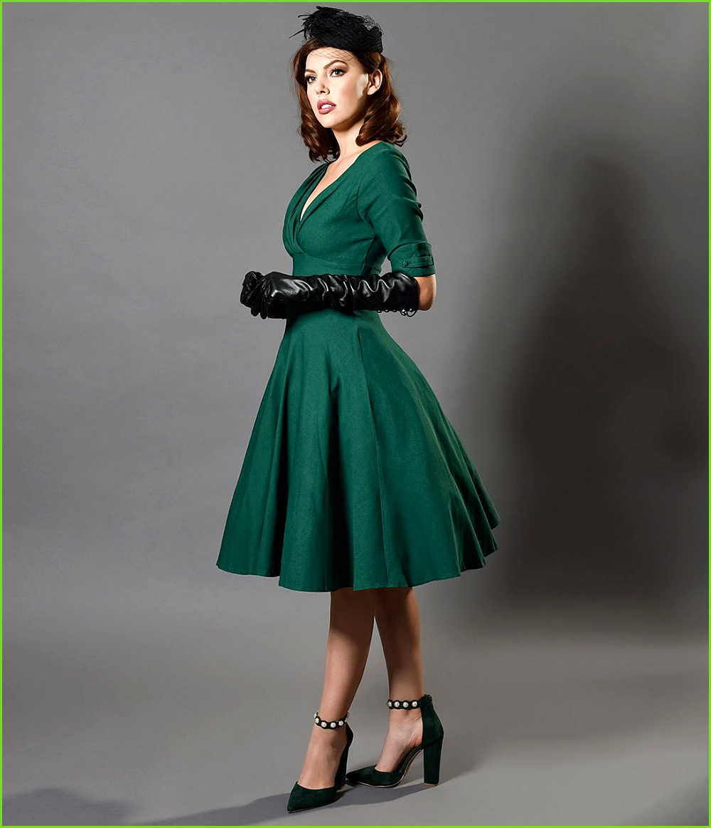 unique vintage 1950s emerald green delores swing dress with