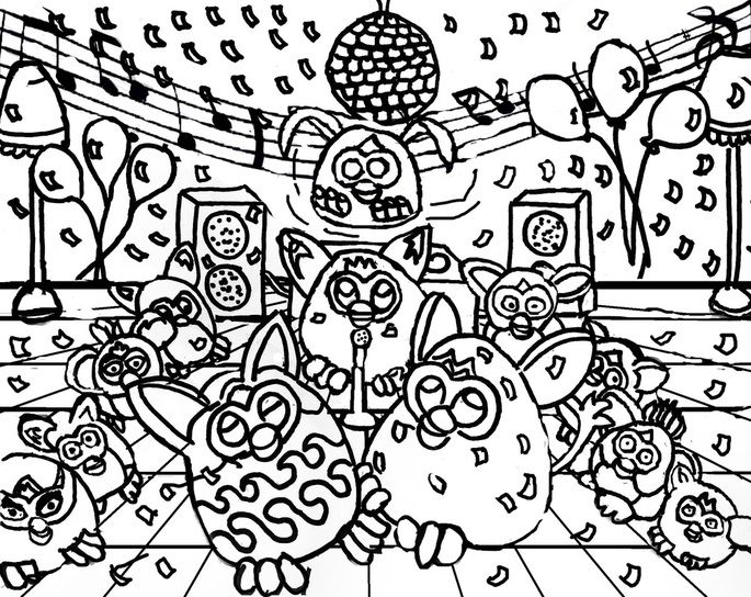 Furby coloring page dancing disco ball party rockers for Disco ball coloring page