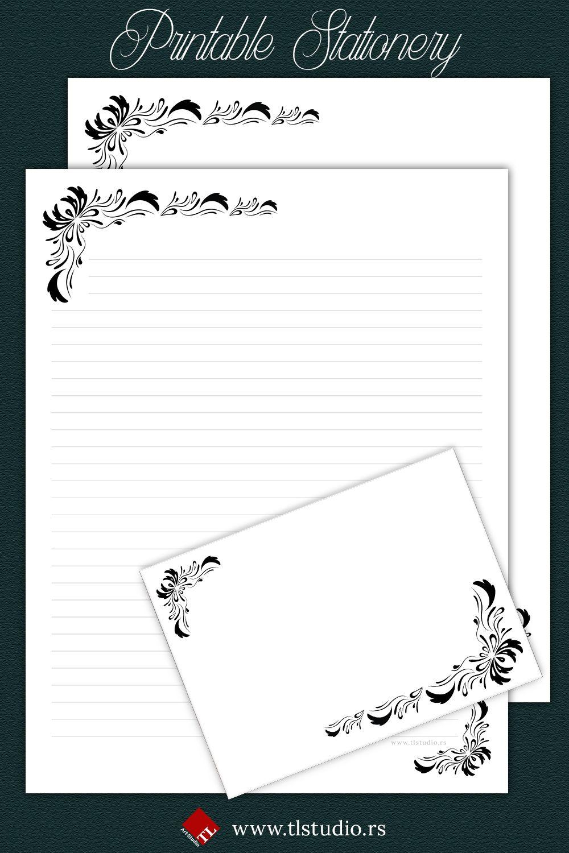 Floral Ornament Printable Stationery Printable Stationery Writing Paper Printable Writing Paper Printable Stationery
