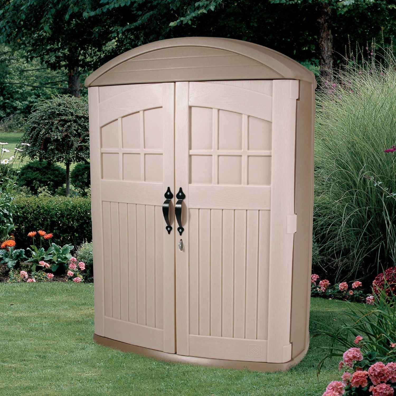 tall boy outdoor plastic lawn garden tool shed 4ft x 2ft x 6ft high