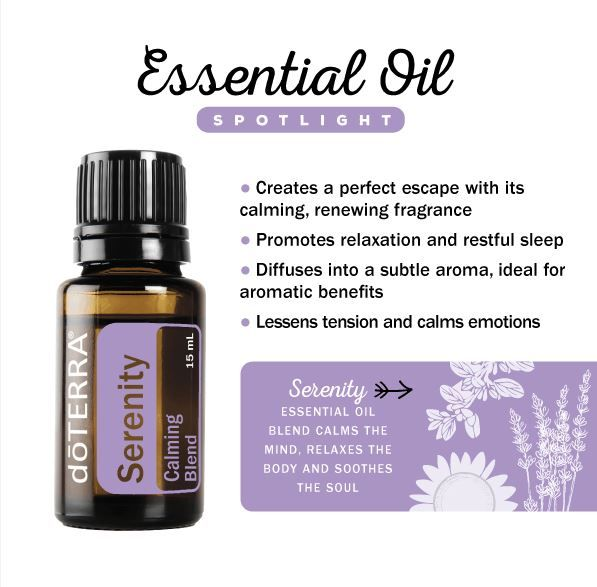 Serenity is a blend of essential oils with known calming properties which create a sense of well-being and relaxation.