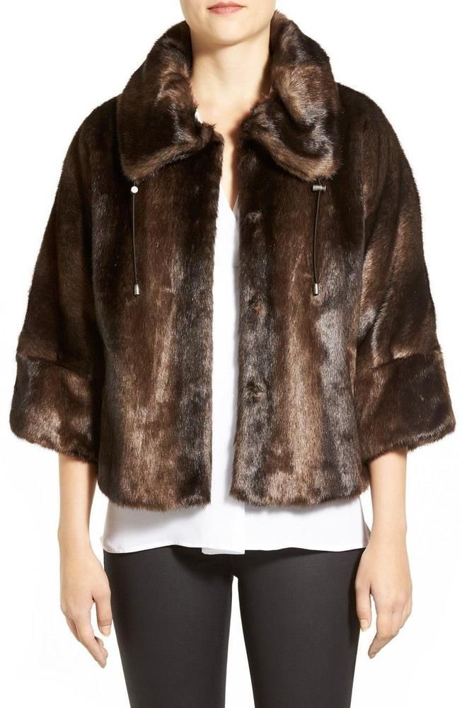 8213082a434b T Tahari Faux Fur Capelet Jacket Women's Medium or Large Brown 3/4 Sleeved  Coat…
