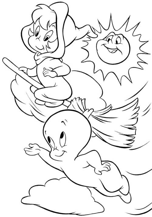 Casper And Witch Coloring Page