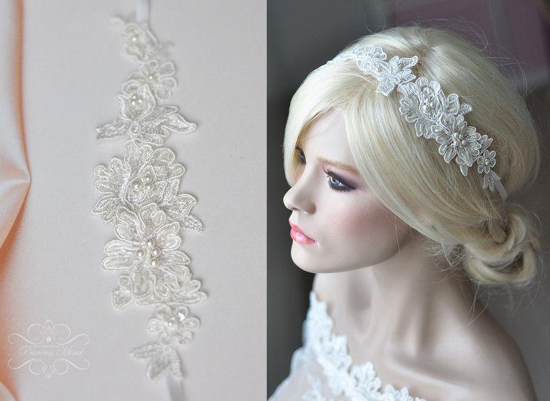 Braut haarband frisur  Braut Haarschmuck Spitze-Perlen Haarband Haarreif | Braut ...