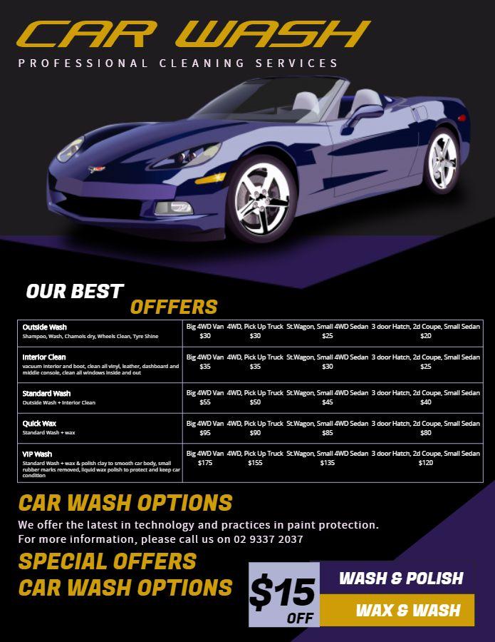 Car Wash Price List Flyer Template