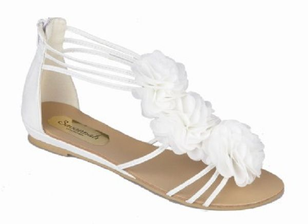 8aaa7491314c26 White Flat Flower Trim Wedding Sandals Shoes Perdita
