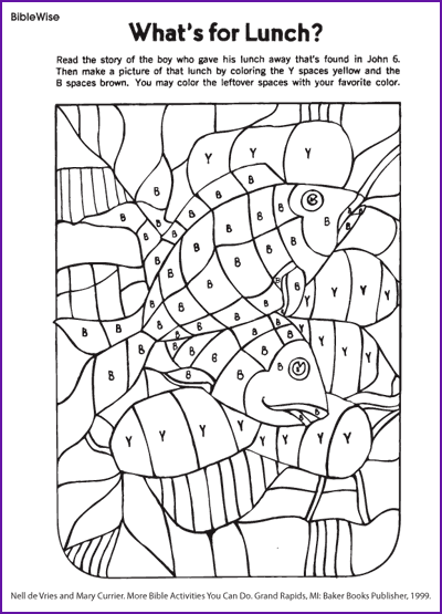 fill in picture of loaves and fishes coloring activity kids korner biblewise - Coloring Activity For Kids