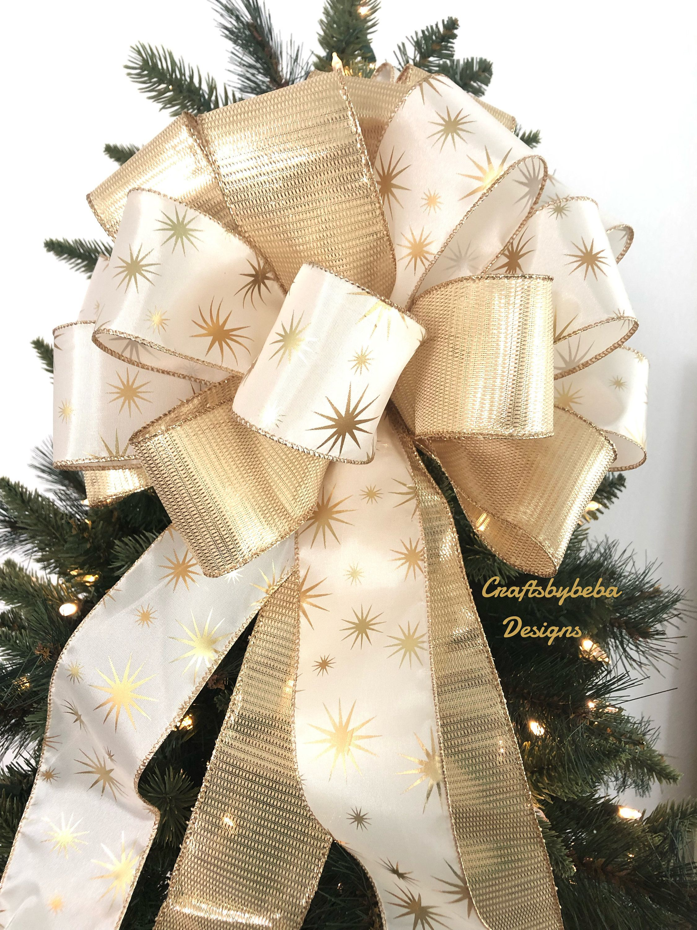 Gold And Off White Tree Topper Gold Star Burst Christmas Etsy Gold Christmas Decorations Christmas Tree Toppers Tree Toppers